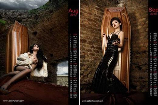 Funerária lança calendário 2010 com fotos de mulheres seminuas