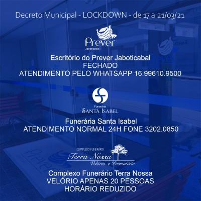 Lockdown altera funcionamento do Prever Jaboticabal